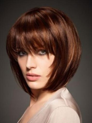 Discount Auburn Capless Straight Short Human Hair Wigs