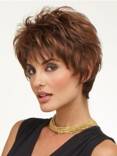 The Newest Capless Brown Wavy Synthetic Short Wigs