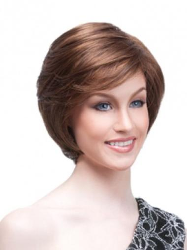 Brown Stylish Monofilament Straight Synthetic Short Wigs