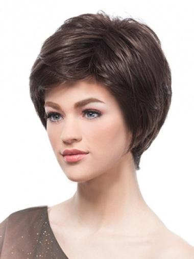 Brown Trendy Monofilament Straight Synthetic Short Wigs