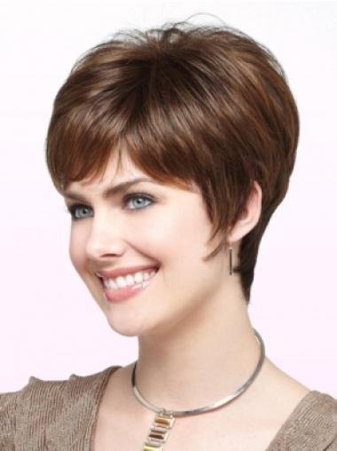Affordable Monofilament Straight Synthetic Short Brown Wigs