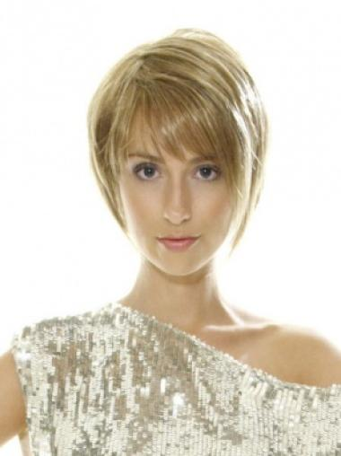 Blonde Quality Lace Front Straight Synthetic Short Wigs