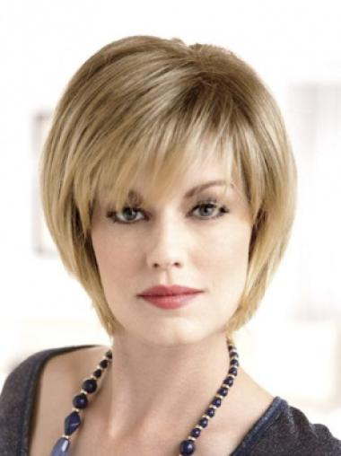 Blonde Affordable Monofilament Straight Synthetic Short Wigs