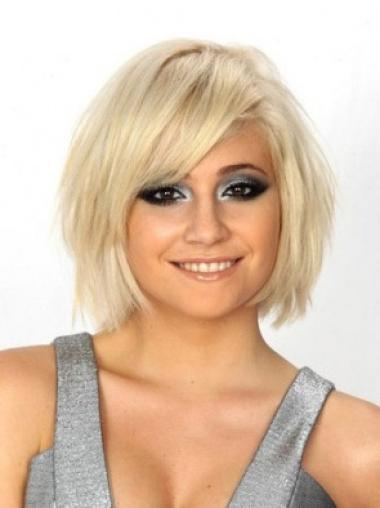 Straight Remy Human Hair Short Full Lace Blonde Flexibility Wigs