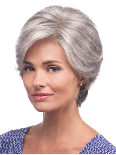 Short Straight Grey Synthetic Wigs