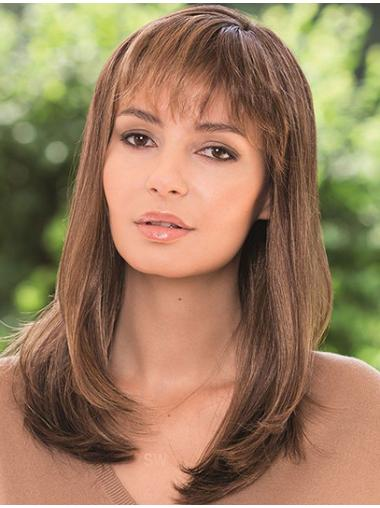 With Bangs Brown Straight Lace Front Shoulder Length Comfortable Remy Human Hair Wigs