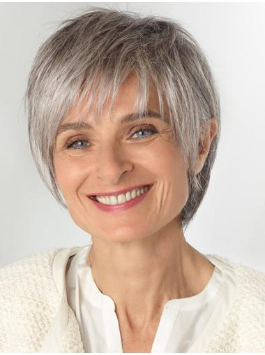 Chin Length Straight Synthetic Grey Wigs