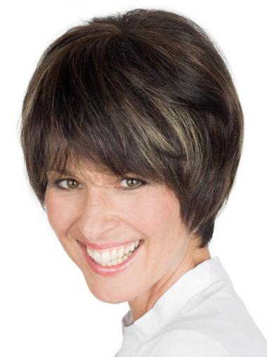 """Popular Brown Lace Front Straight 8"""" Human Hair Wigs"""