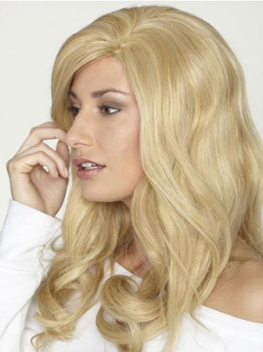 Classy Blonde Lace Front Curly Long Human Hair Wigs