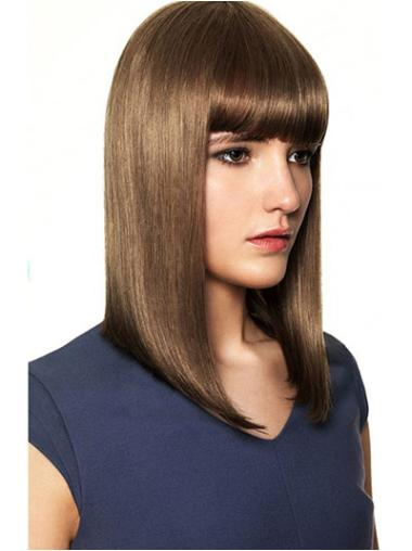"Flexibility Brown Capless Straight 14"" Human Hair Wigs"