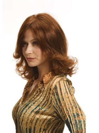 Fashionable Auburn Full Lace Wavy Medium Human Hair Wigs