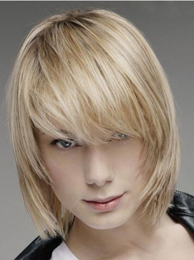 Popular Blonde Lace Front Straight Short Human Hair Wigs