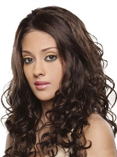 No-fuss Brown Lace Front Wavy Long Human Hair Wigs