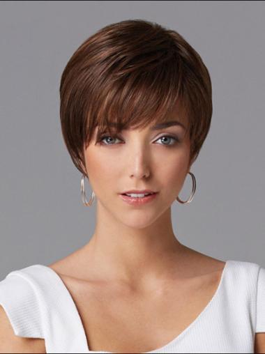 "Discount Auburn Capless Straight 8"" Human Hair Wigs"