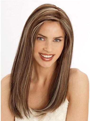 """Top Brown Lace Front Straight 22"""" Human Hair Wigs"""