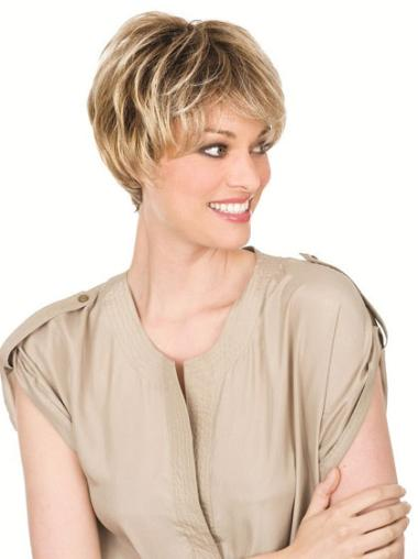 Blonde Remy Human Hair Suitable Wavy Wigs