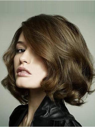Brown Remy Human Hair Beautiful Wavy Wigs