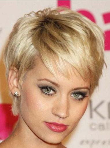Celebrity Blonde Capless Straight Wigs Hairstyle