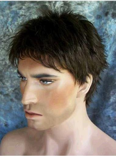 Synthetic Short Capless Black Men Wigs