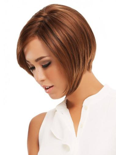 Short Monofilament Remy Human Hair Wigs For Cancer