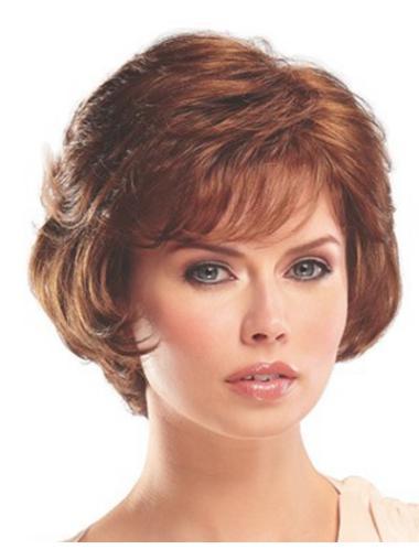 Cheap Auburn Capless Wavy Synthetic Short Wigs