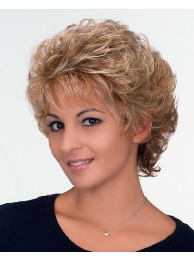 Beautiful Brown Capless Curly Synthetic Short Wigs