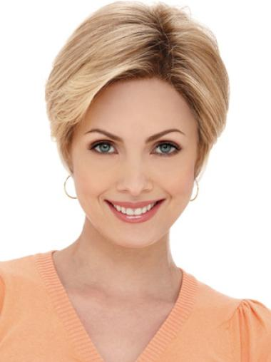 Trendy Blonde Monofilament Straight Synthetic Short Wigs