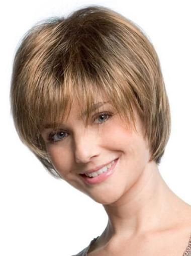Flexibility Blonde Capless Straight Synthetic Short Wigs
