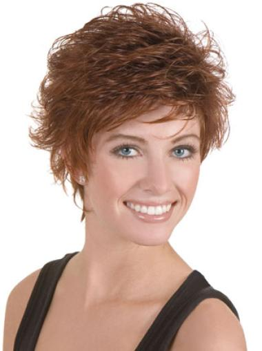 Suitable Lace Front Brown Wavy Synthetic Short Wigs