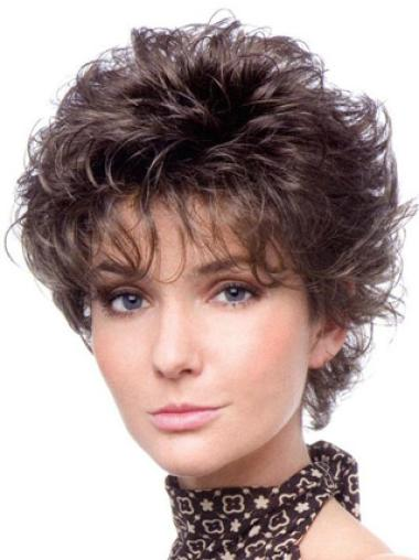 Cheap Capless Brown Curly Synthetic Short Wigs
