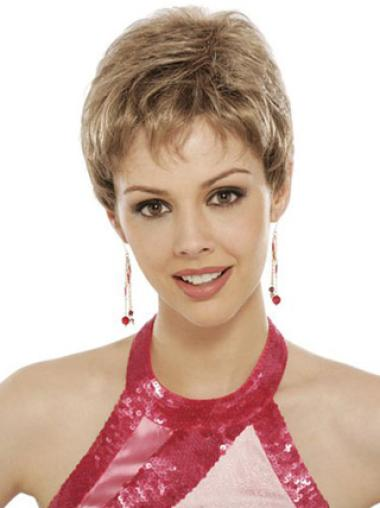 Beautiful Lace Front Brown Wavy Synthetic Short Wigs