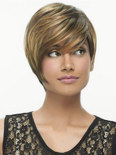 Stylish Capless Blonde Straight Synthetic Short Wigs