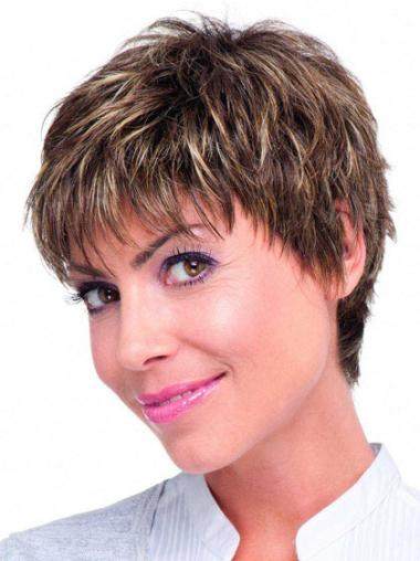 Sassy Monofilament Brown Straight Remy Human Hair Short Wigs