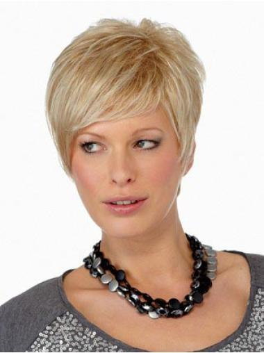 Affordable Capless Blonde Straight Synthetic Short Wigs