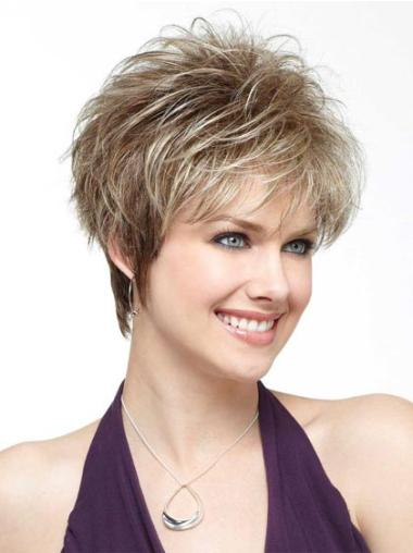 Versatility Capless Blonde Straight Synthetic Short Wigs