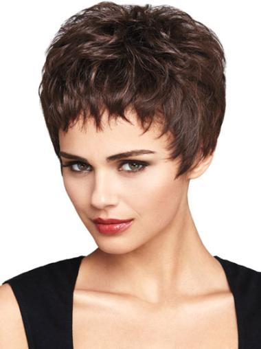 Classy Lace Front Auburn Wavy Synthetic Short Wigs