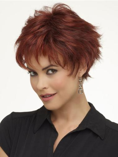 Perfect Monofilament Red Wavy Synthetic Short Wigs