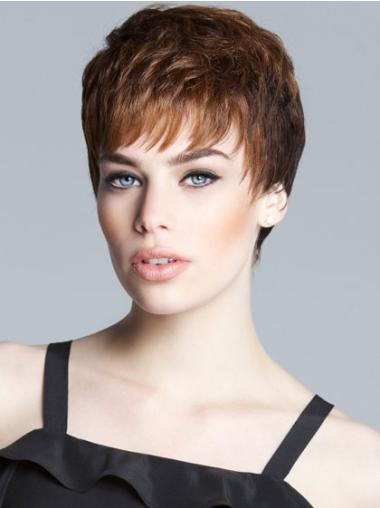 Brown Affordable Monofilament Straight Synthetic Short Wigs