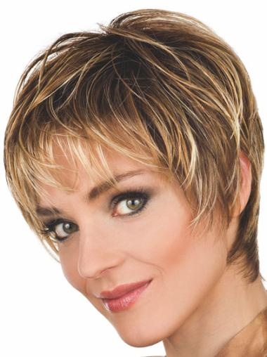 Brown Soft Capless Wavy Synthetic Short Wigs