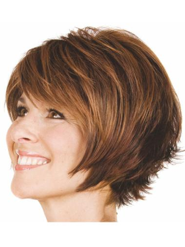 Brown Comfortable Capless Wavy Synthetic Short Wigs