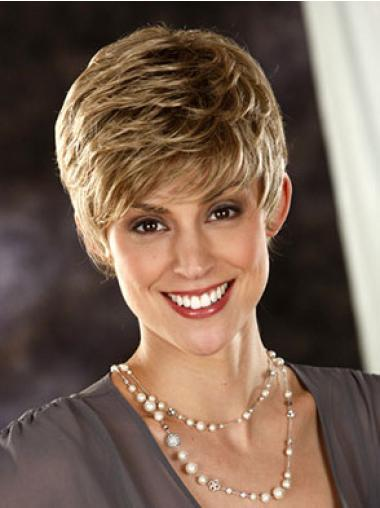 Blonde Designed Capless Wavy Synthetic Short Wigs