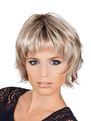 Blonde Modern Capless Wavy Synthetic Short Wigs