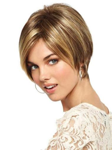 Blonde Beautiful Monofilament Straight Synthetic Short Wigs