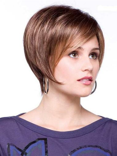 Brown No-fuss Lace Front Straight Synthetic Short Wigs