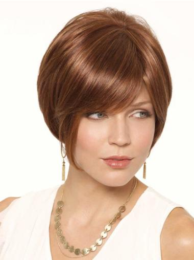 Brown The Newest Lace Front Straight Synthetic Short Wigs