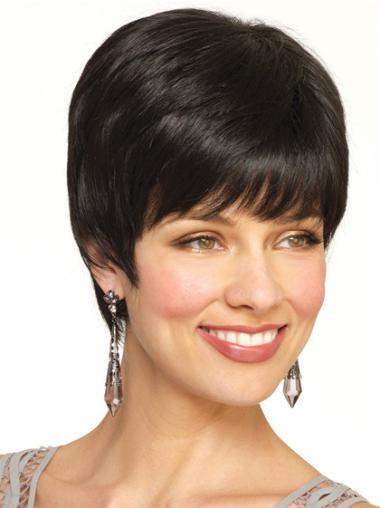 Black Fashion Capless Straight Remy Human Hair Short Wigs