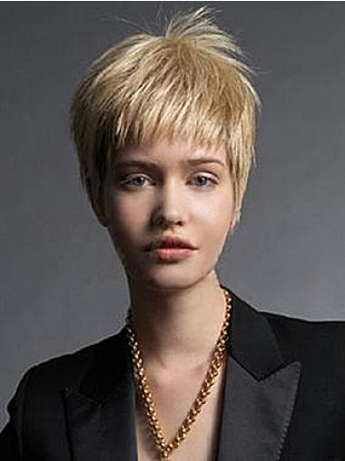 Straight Remy Human Hair Short Capless Blonde New Fashion Wigs