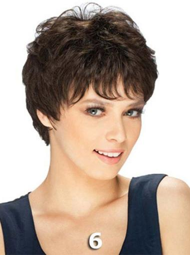 Straight Remy Human Hair Short Capless Brown Incredible Wigs
