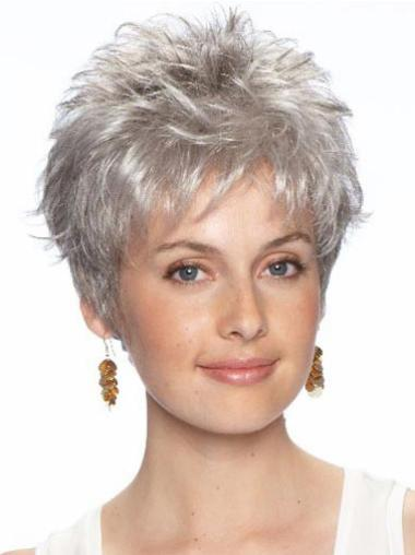 Short Wavy Lace Front Grey Synthetic Cancer Wigs