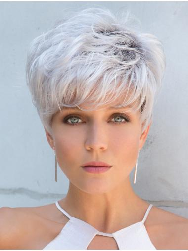"""Capless Cropped Straight 5"""" Grey Wigs For Women"""